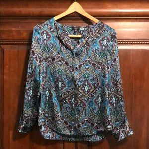 Fall!! Talbots Petites Popover Blouse-Paisley Teal